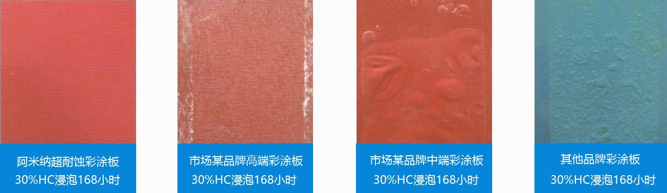 超耐蚀彩涂板酸性溶液浸泡